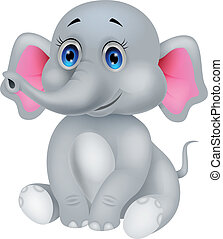 sprytny, słoń niemowlęcia, rysunek