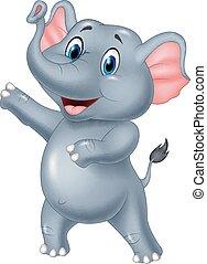 sprytny, słoń, rysunek, przedstawiając
