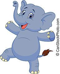 sprytny, słoń, rysunek, taniec