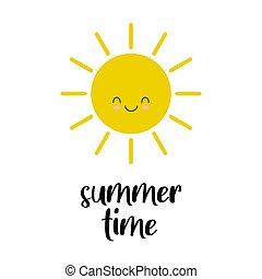 sprytny, słońce, card., rysunek, lato, time.