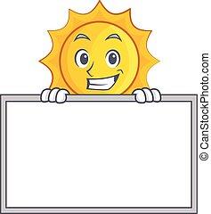 sprytny, słońce, litera, szczerzenie zębów, deska, rysunek