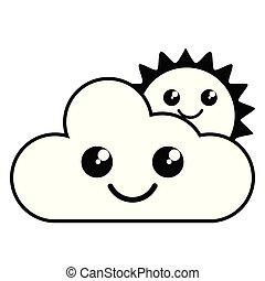 sprytny, słońce, pogoda, ikona, chmura, szczęśliwy