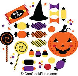sprytny, słodki, halloween, odizolowany, cukierek, zbiór, biały