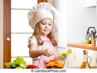sprytny, sałata, zdrowe jadło, przygotowując, roślina, dziewczyna