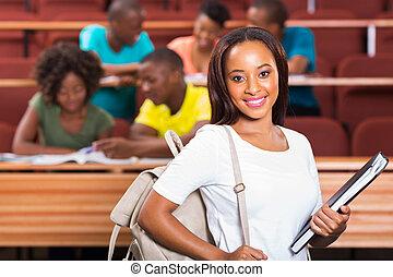 sprytny, samica, amerykanka, kolegium student, afrykanin