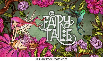 sprytny, siedząc, kwiat, przód, tło, kwiatowy, wróżka, skrzydełka