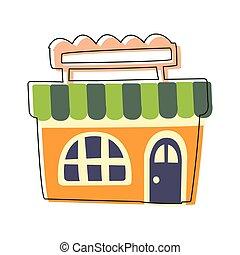 sprytny, sklep spożywczy, sklep, miasto, konturowany, ilustracja, element, opowiadanie, mały, pomarańcza, wróżka, rysunek, krajobraz