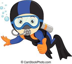 sprytny, snorkeling, chłopiec