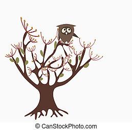 sprytny, sowa, drzewo
