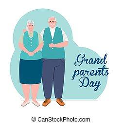 sprytny, starszy, rodzice, dzień, wielki, para, szczęśliwy