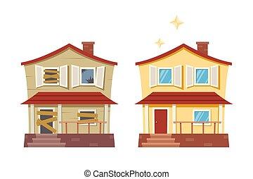 sprytny, stary, ilustracja, dom, podmiejski, po, remodeled, ...