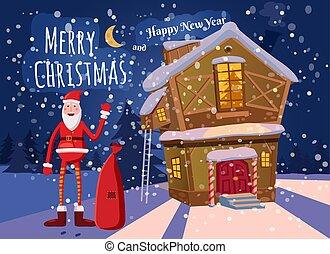 sprytny, styl, jego, dary, chorągiew, zabawny, ręka, odizolowany, karta, powitanie, rysunek, falować, torba, śnieg, wektor, gwiazdor, spadanie, płatki śniegu, szablon