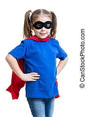 sprytny, superhero, dziecko, gry, dziewczyna, koźlę