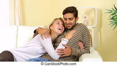 sprytny, szczęśliwa para, spoczynek, razem