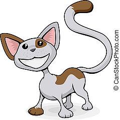 sprytny, szczęśliwy, kot, rysunek, ilustracja