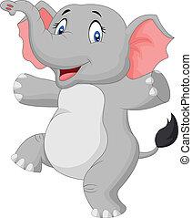 sprytny, szczęśliwy, rysunek, słoń