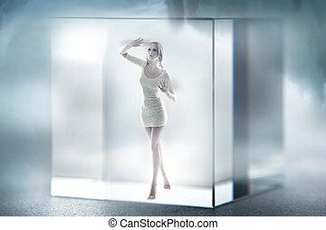 sprytny, sześcian, uwięziony, szkło, blond, dama