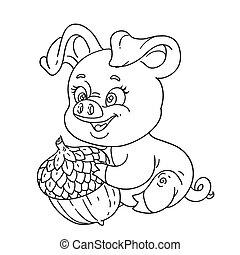 sprytny, szkic, świnia, wielki, żołądź, dzierżawa, rysunek, szczęśliwy
