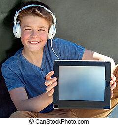 sprytny, tabliczka, chłopiec, pokaz, screen., czysty, earphones