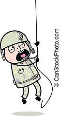 sprytny, trening, armia, -, ilustracja, związać, żołnierz, ...