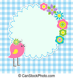 sprytny, ułożyć, kwiaty, ptak, okrągły
