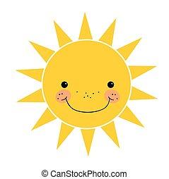sprytny, uśmiechanie się, biały, odizolowany, słońce