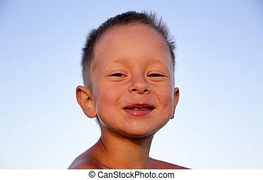 sprytny, uśmiechanie się, mały chłopieją