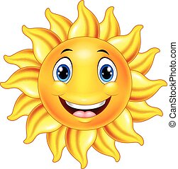 sprytny, uśmiechanie się, rysunek, słońce
