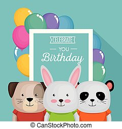 sprytny, urodziny, zwierzęta, karta, szczęśliwy