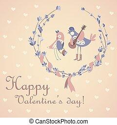 sprytny, valentine dzień, świętując, para, ptaszki