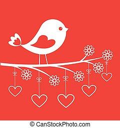 sprytny, valentine, -, dzień, szykowny, ptak, karta