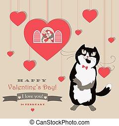 sprytny, valentine, kot, świętując, para, ptaszki, dzień