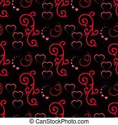 sprytny, valentine, seamless, hearts., wektor, próbka, ilustracja