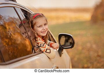 sprytny, wóz, mała dziewczyna
