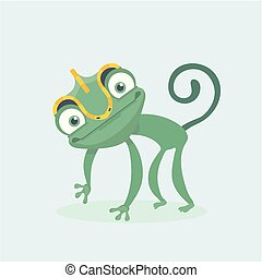 sprytny, wektor, illustration., chameleon.