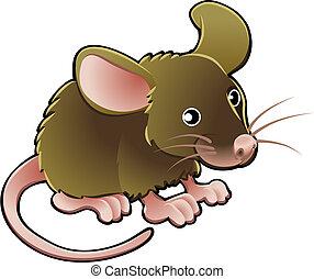 sprytny, wektor, ilustracja, mysz
