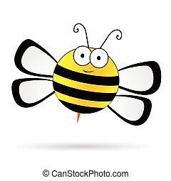 sprytny, wektor, ilustracja, pszczoła