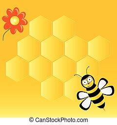 sprytny, wektor, plastry miodu, ilustracja, pszczoła