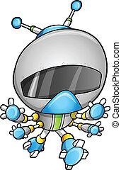 sprytny, wektor, robot, ilustracja