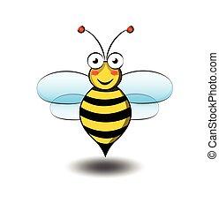 sprytny, wektor, rysunek, ilustracja, pszczoła