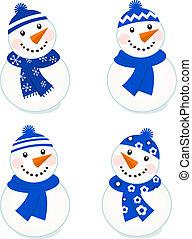 sprytny, wektor, snowmen, zbiór, odizolowany, na białym, (, błękitny, )