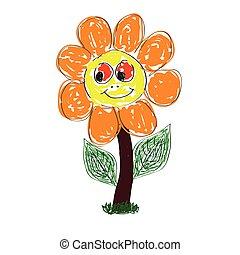 sprytny, wektor, sztuka, kwiat, ilustracja