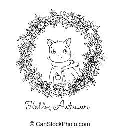 sprytny, wieniec, leaves., cat., jesień, rysunek