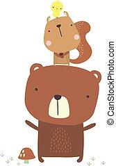sprytny, wiewiórka, niedźwiedź