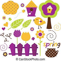 sprytny, wiosna, ogród, wektor, komplet, odizolowany, na białym, (, retro, )