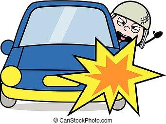 sprytny, wypadek, armia, wóz, -, ilustracja, żołnierz, ...