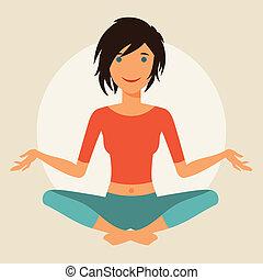 sprytny, yoga., praktyka, młody, ilustracja, dziewczyna
