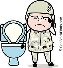 sprytny, zaparcie, armia, -, ilustracja, żołnierz, wektor,...