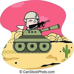 sprytny, zbiornik, armia, -, bojowy, wojna, żołnierz, wektor...