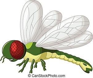 sprytny, zielony, rysunek, dragonfly
